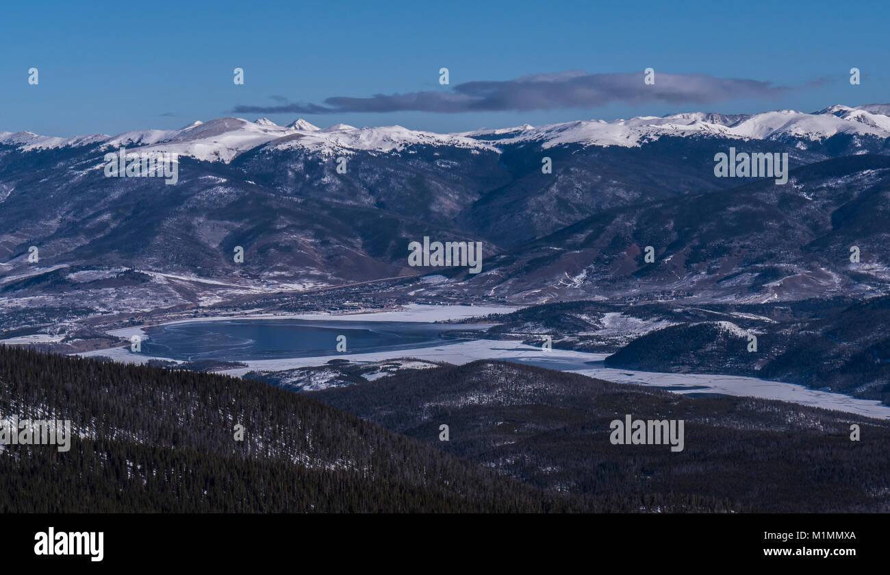 Dillon Reservoir from atop Peak 6, Breckenridge Ski Resort, Breckenridge, Colorado. - Stock Image