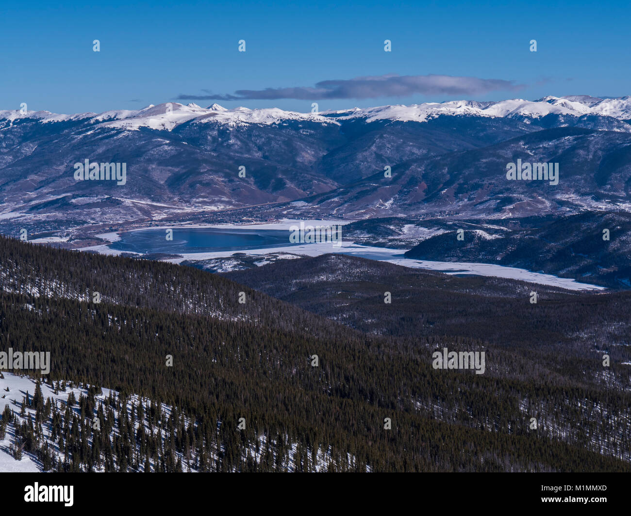 Dillon Reservoir from atop Peak 6, Breckenridge Ski Resort, Breckenridge, Colorado. - Stock Image