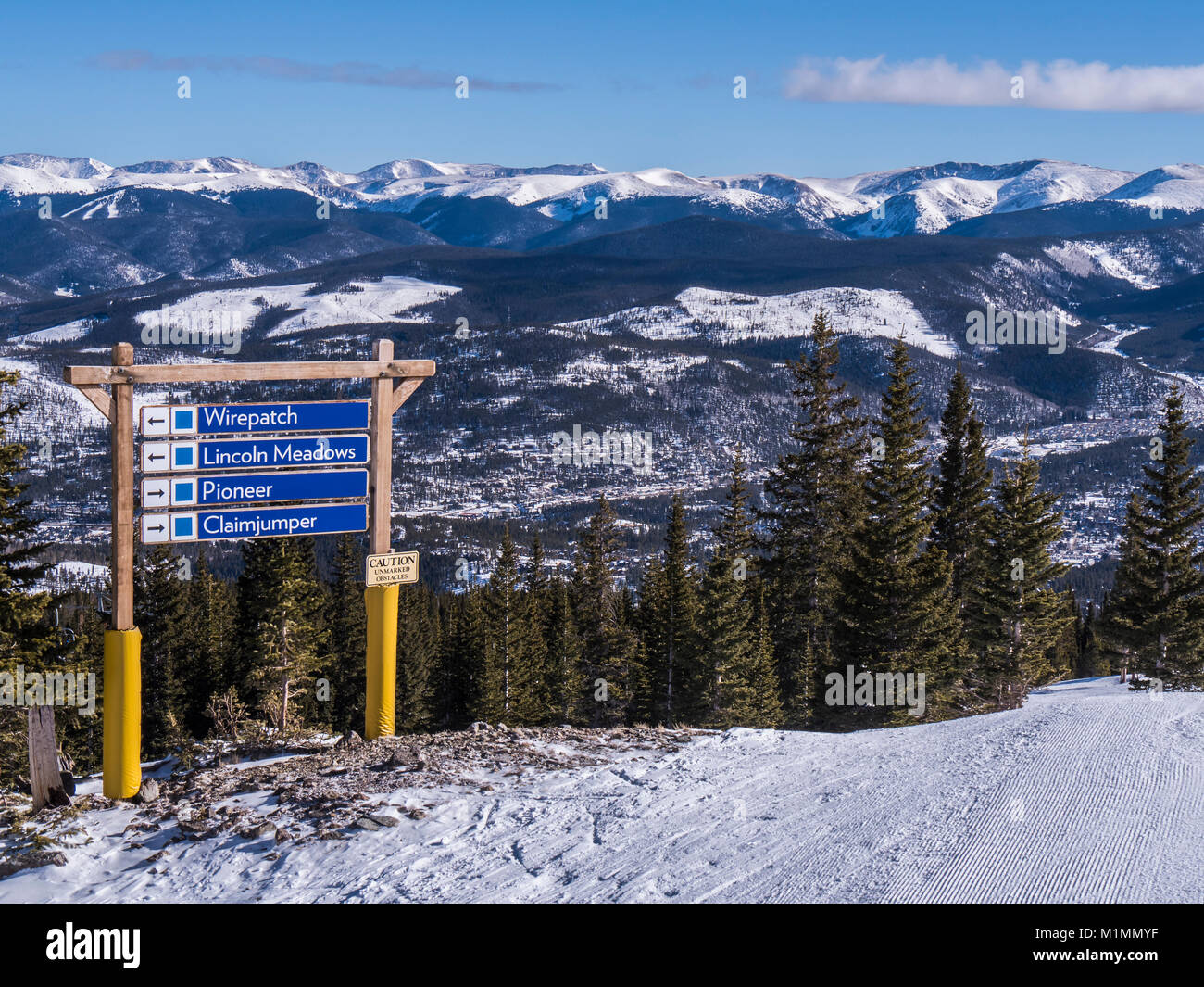 Ski trail sign atop Peak 7, Breckenridge Ski Resort, Breckenridge, Colorado. - Stock Image