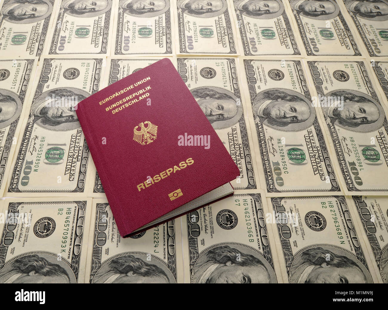 Dollar, passport, Reisepass Stock Photo