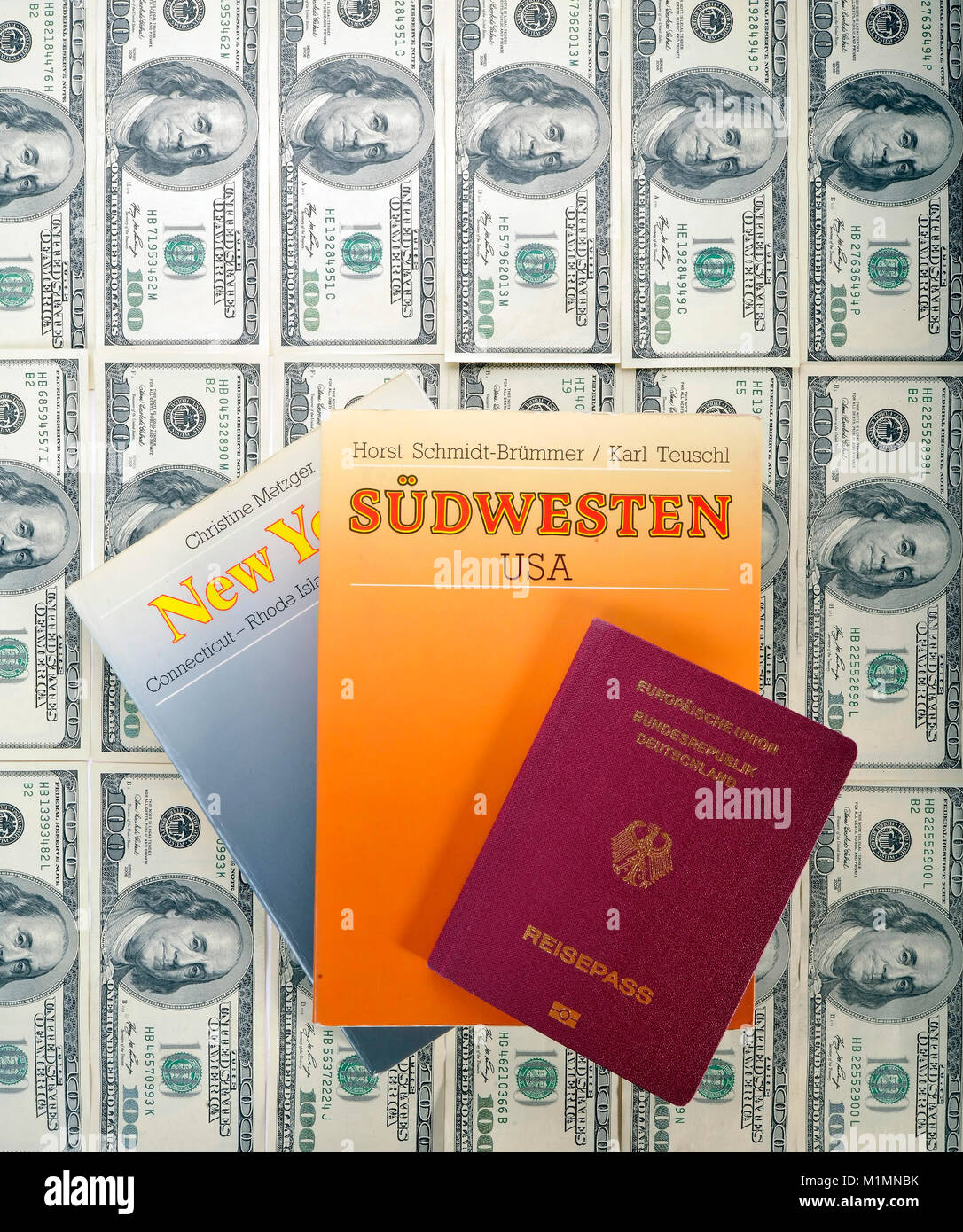 Dollar, passport, travel directory and travel guide, Reisepass, Reiseführer Stock Photo
