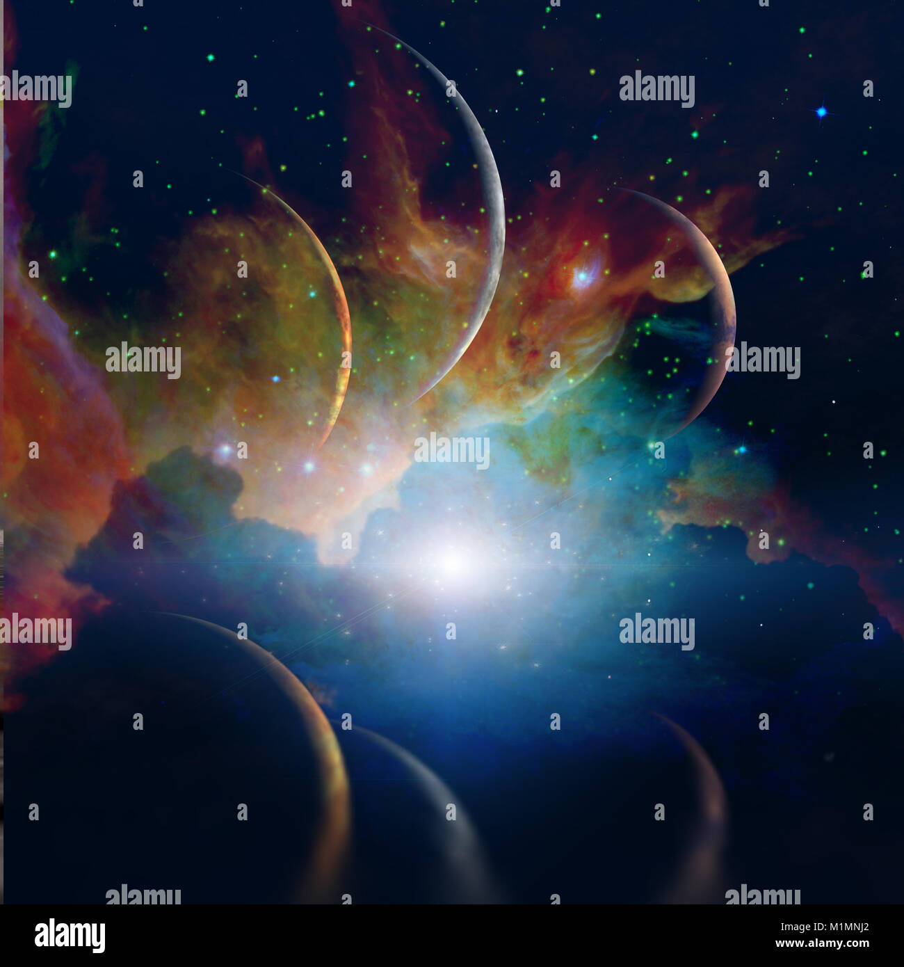 Space landscape. Planets parade - Stock Image