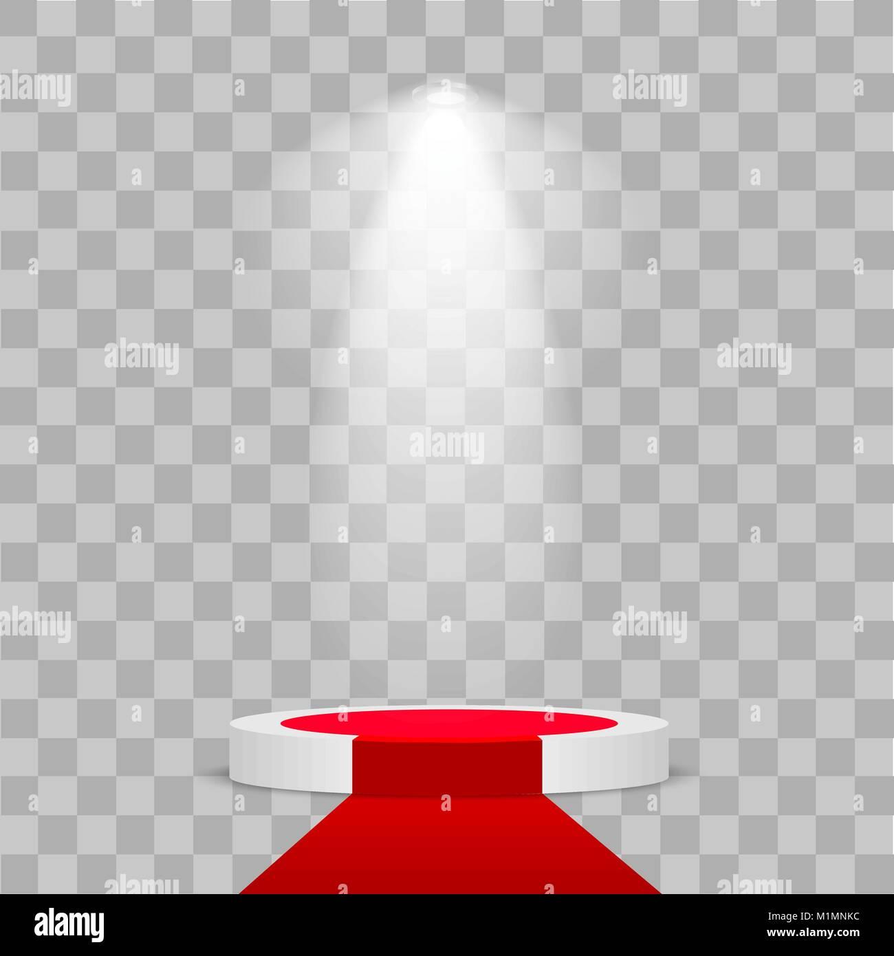 round stage podium illuminated with light on transparent background
