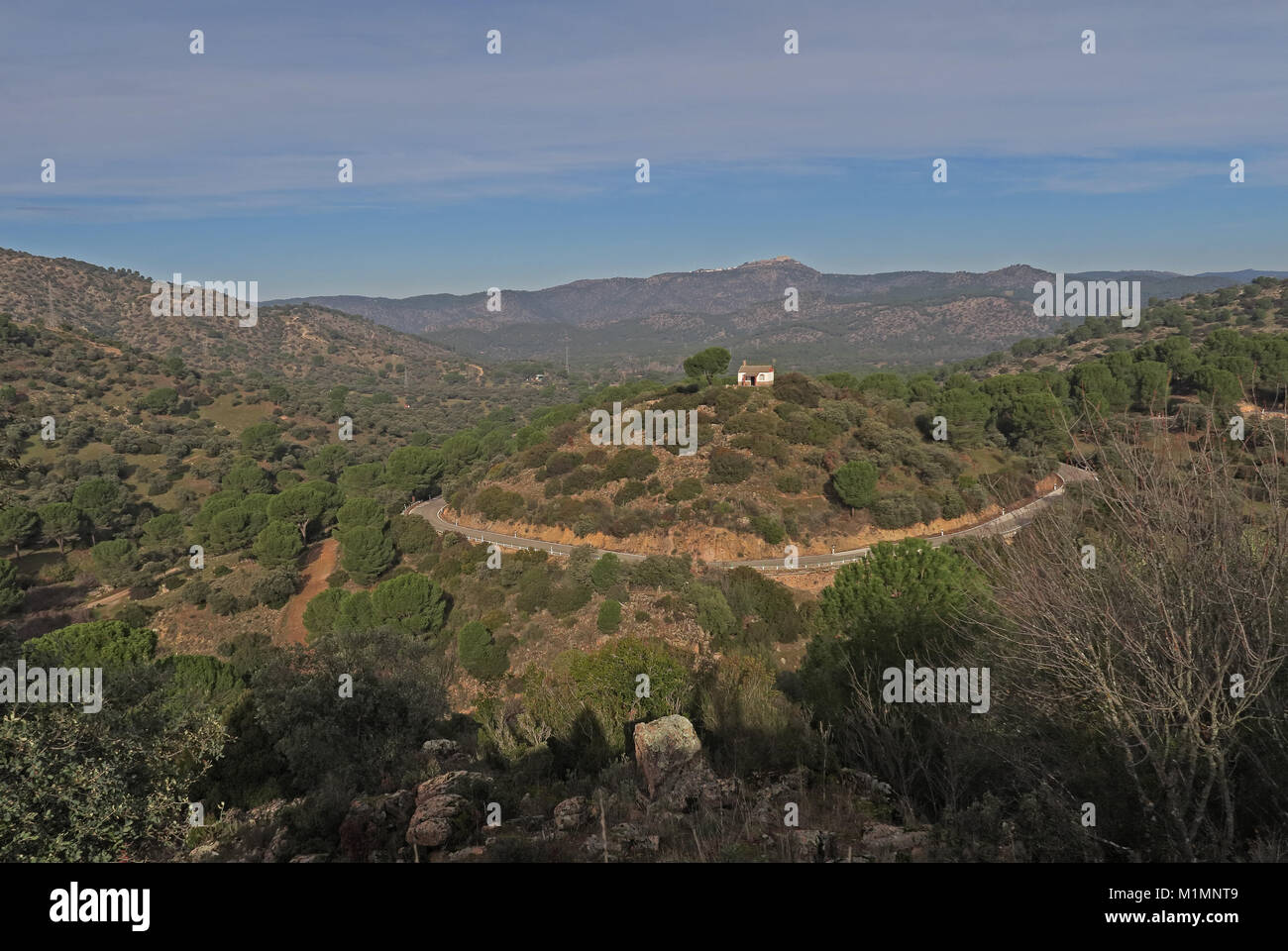 winding mountain road with isolated house on hill with Stone Pine tree  Parque Natural Sierra de Andujar, Jaen, - Stock Image