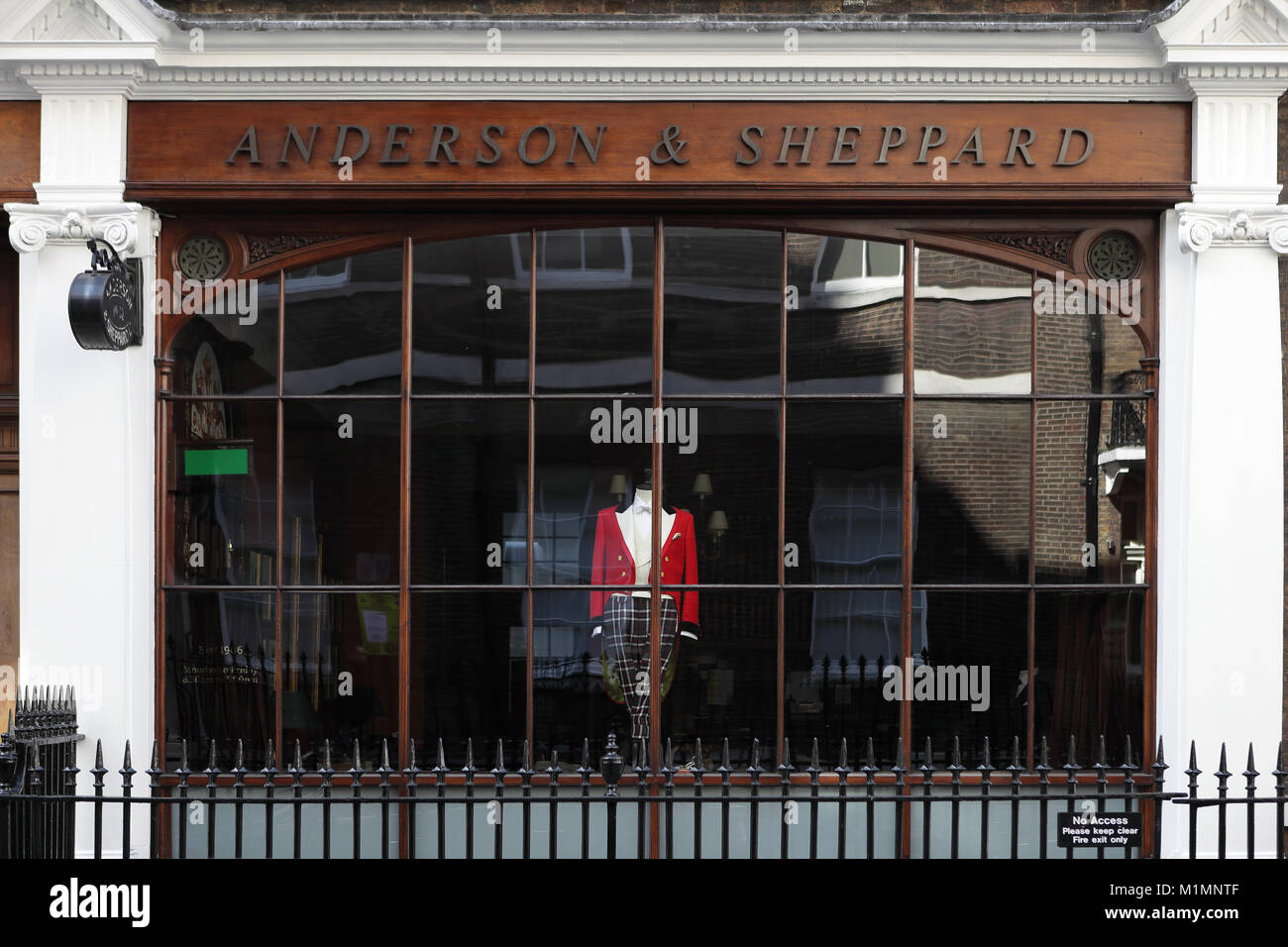 Anderson and Sheppard shop on Savile Row, London, England, Britain - Stock Image