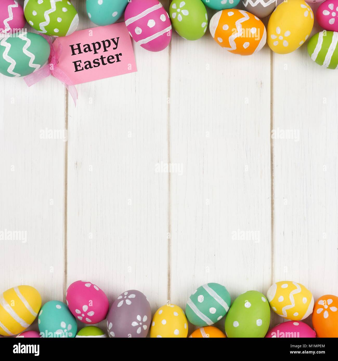 Happy easter gift tag with colorful easter egg double border against happy easter gift tag with colorful easter egg double border against a white wood background negle Image collections