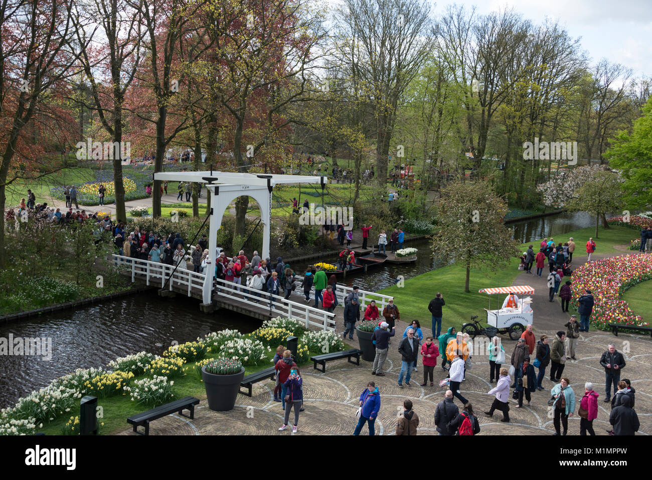 From the platform at the windmill in the gardens at Keukenhof, Lisse in the south of Holland.    The name, ÔKeukenhofÕ - Stock Image