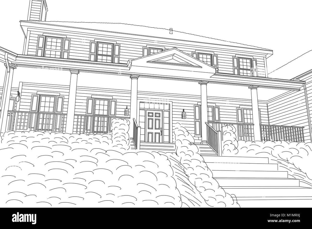 Beautiful Custom House Drawing On A White Background Stock Photo Alamy