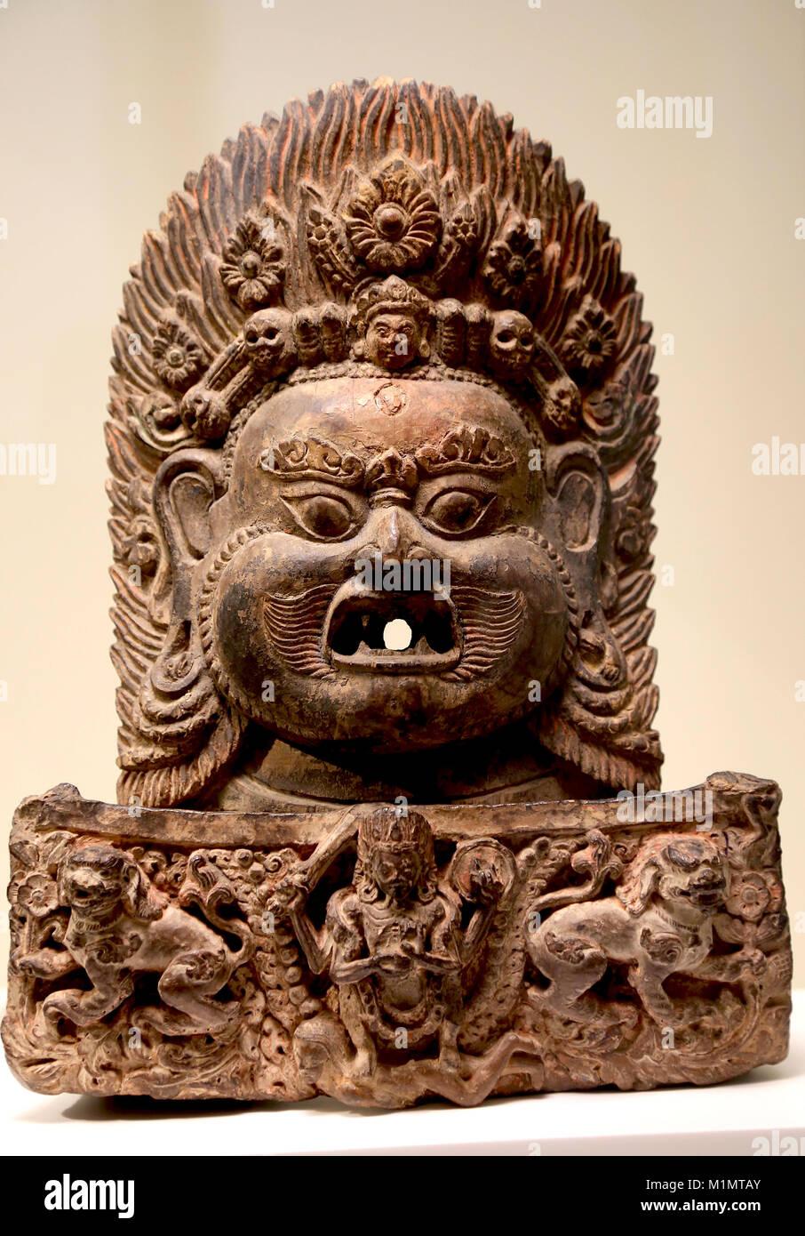 Head of Bhairava. Hindu deity. Carved and painted wood. Kathmandu valley, Nepal. Early 18th Century - Stock Image