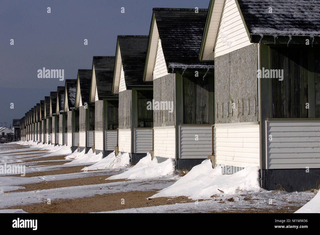 Cottages all buttoned up for winter on Cape Cod in Truro, Massachusetts, USA - Stock Image