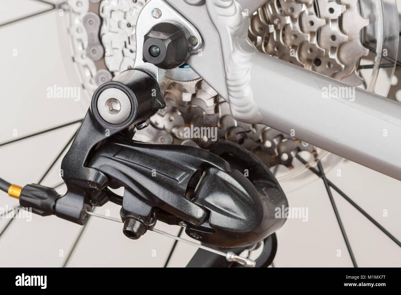 Part of bike derailleur,close up view, studio photo. Stock Photo