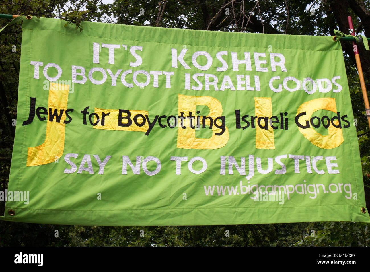Free Gaza Demo - Boycott sign - Stock Image