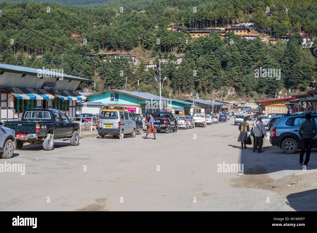 Bumthang, Bhutan.  Main Street of Jakar. - Stock Image