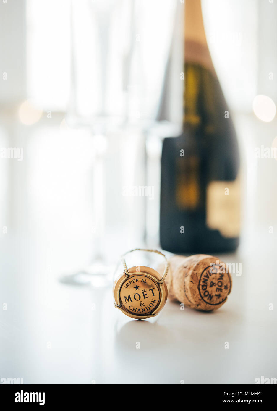 ODESSA, UKRAINE - January 30 2018: Moet & Chandon Champagne cork - Stock Image