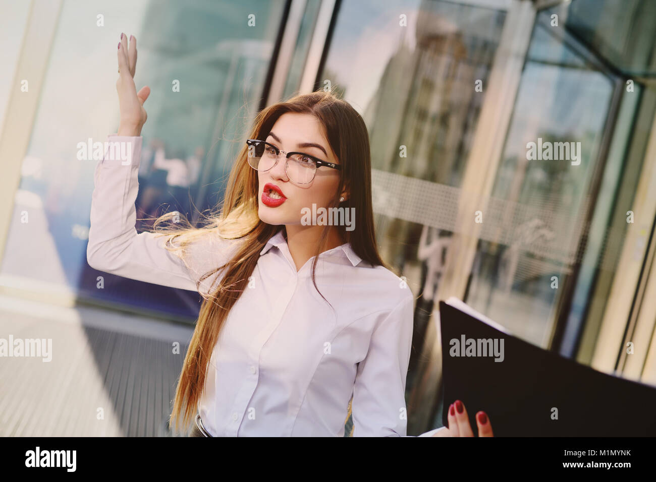 angry boss screaming at the staff - Stock Image