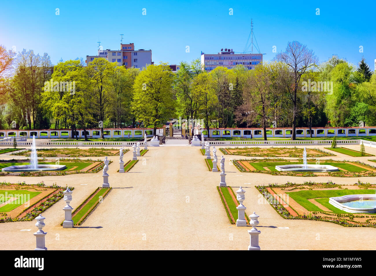 Sculptures in Park of Branicki Palace and Medical University of Bialystok Clinical Hospitals in Poland. Architecture - Stock Image