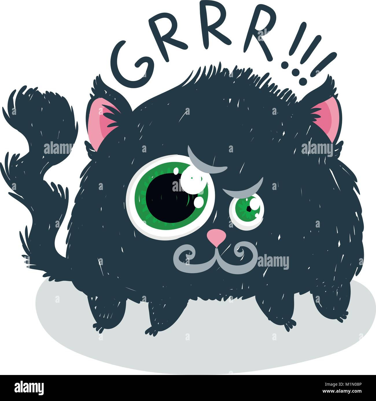 Cute monster kitten with text. Vector illustration for t shirt and print design. Poster, card, label. Grr! Stock Vector