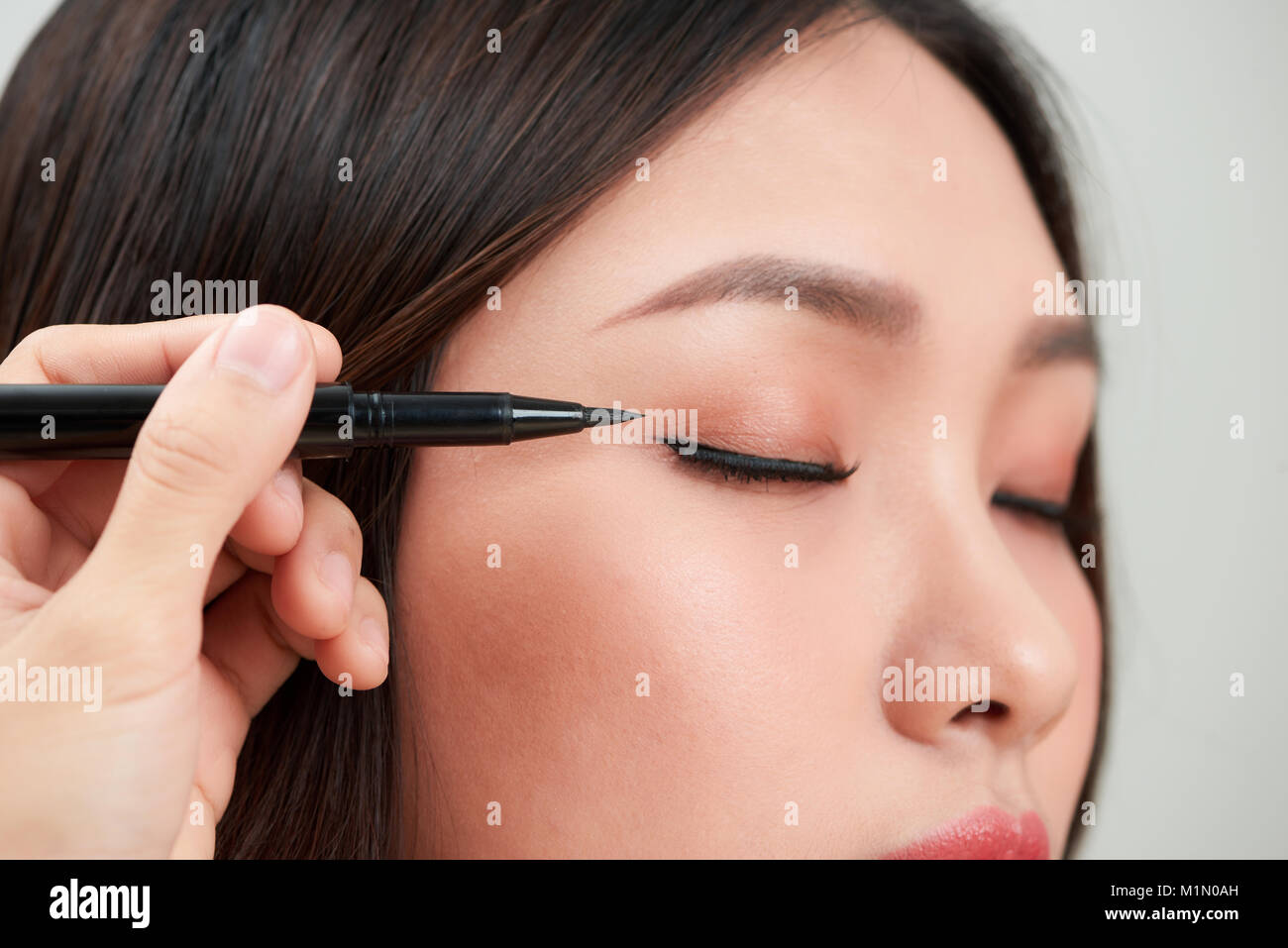 Eyeline Stock Photos Images Alamy Moonlit Eyeliner Fin Close Up Of Beautiful Woman Make With Black Image