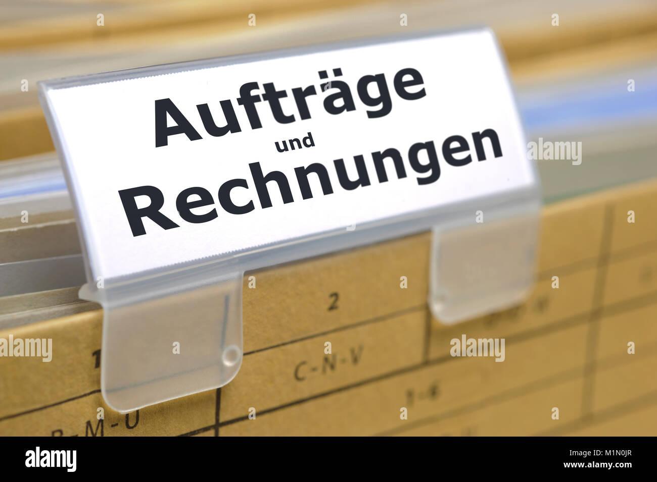 Aktenordner markiert für Dokumente, Aufträge und Rechnungen - Stock Image