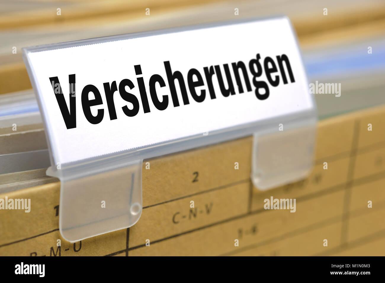 Versicherung, Hängeregister und Reiter mit Aufschrift Versicherungeng] Stock Photo
