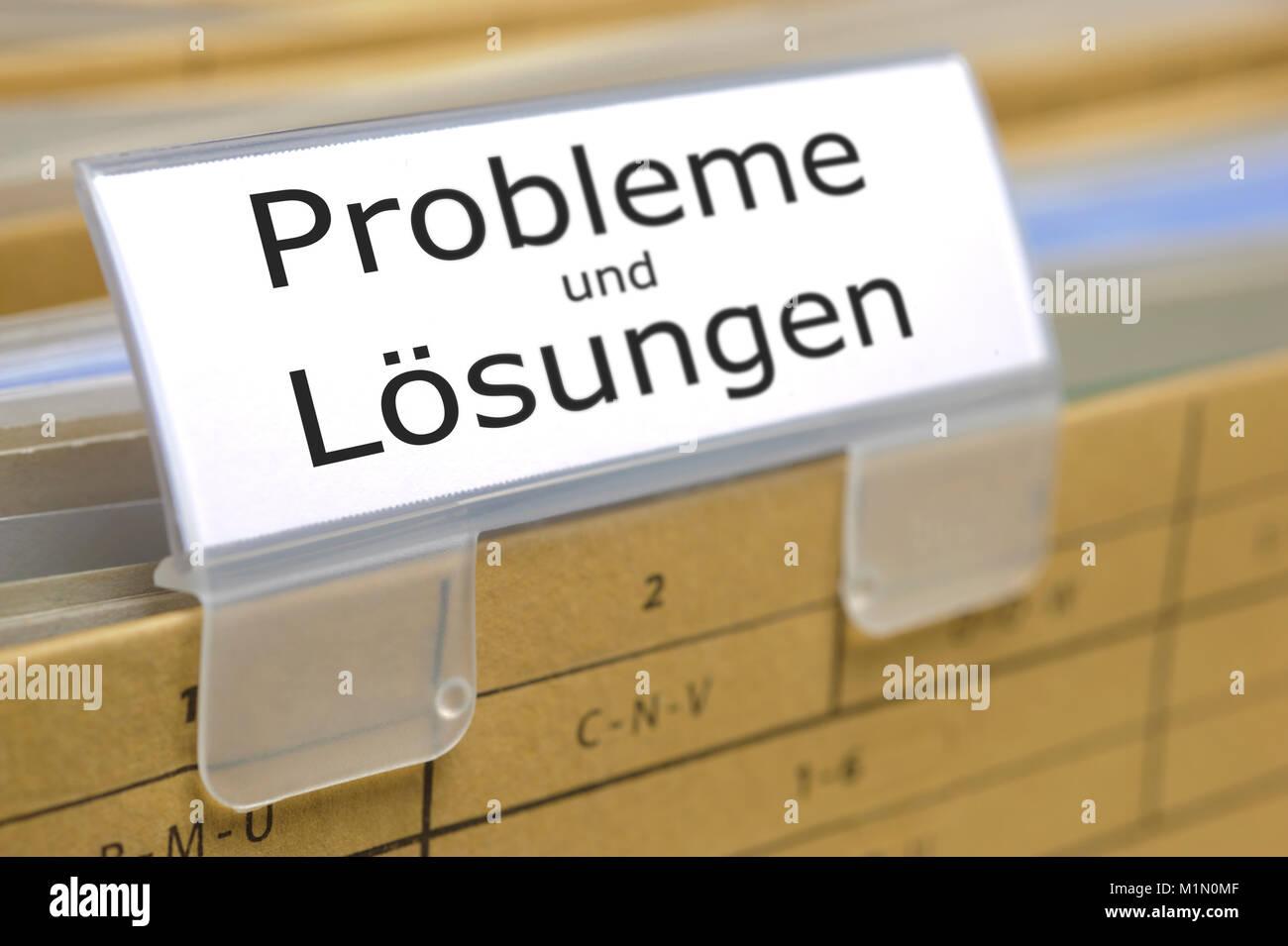 Aktenordner für Probleme und Lösungen - Stock Image