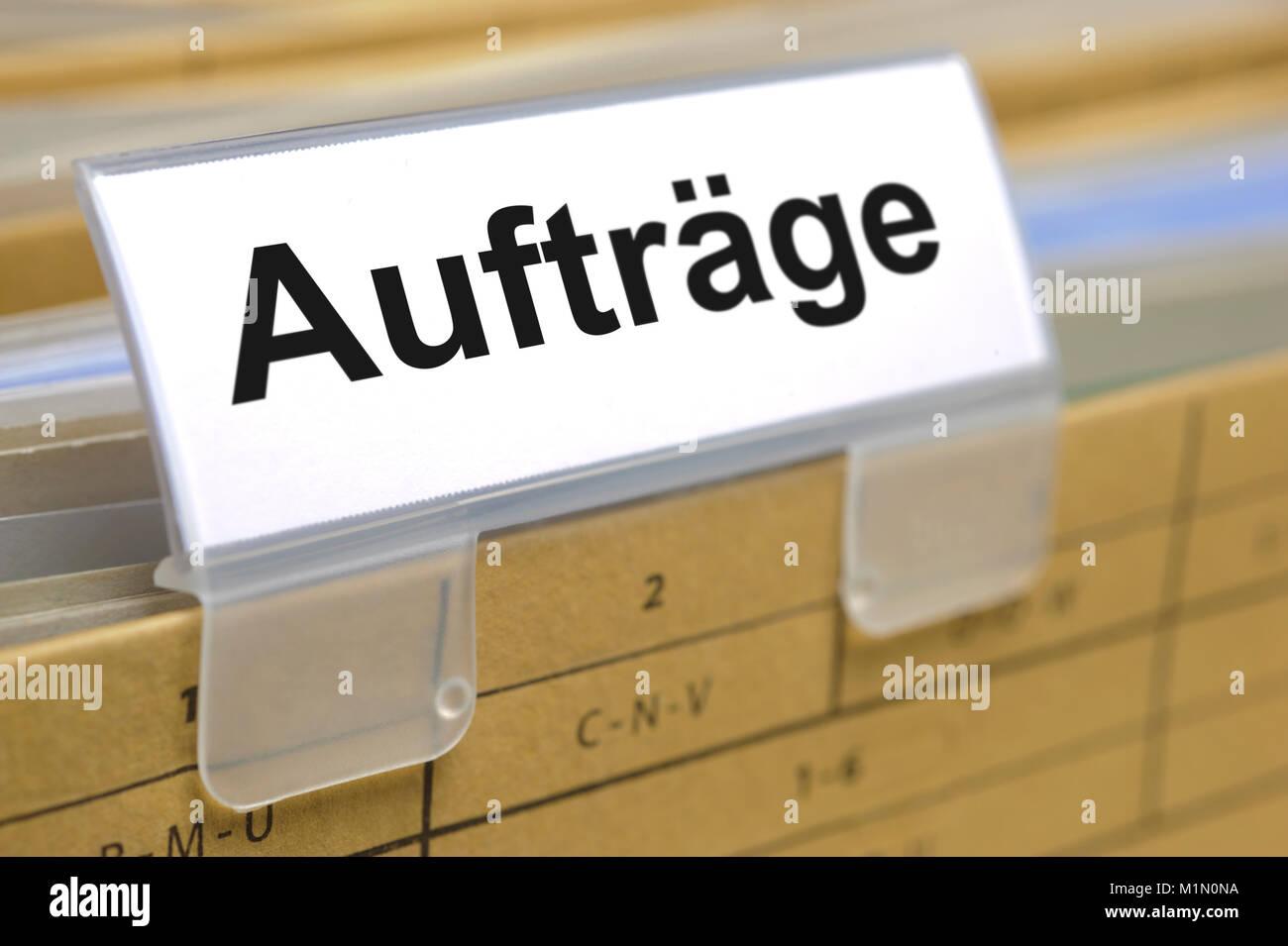 orders -  printed on german file folder - Stock Image