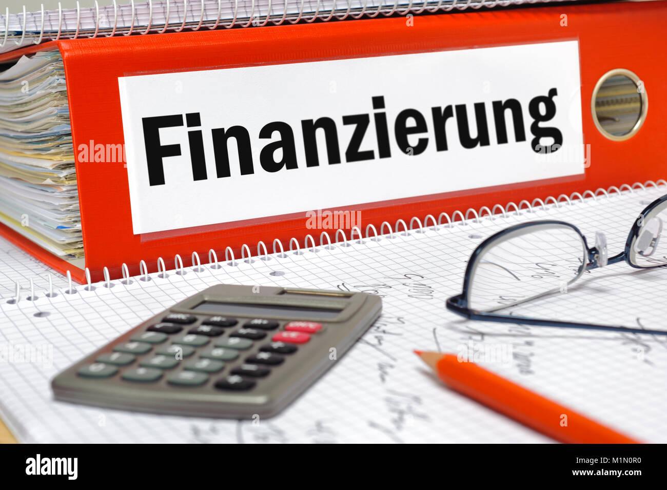 Aktenordner mit Aufschrift Finanzierung - Stock Image
