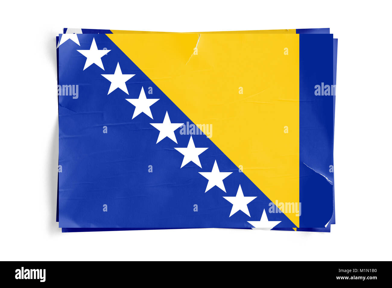 Realistic illustration of Bosnia and Herzegovina flag on torned, wrinkled, dirty, grunge paper poster. Three of - Stock Image