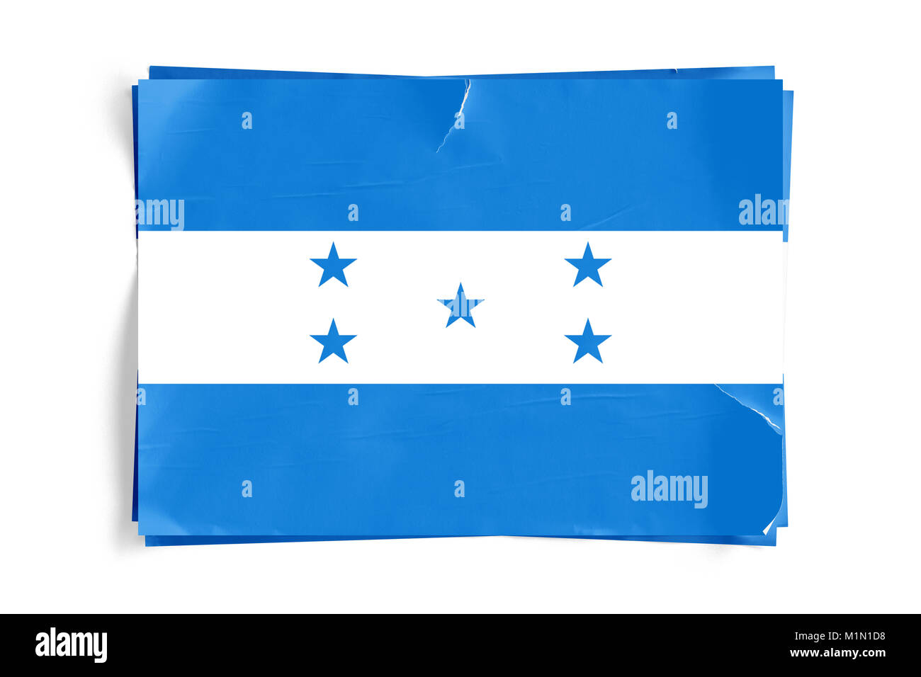 Realistic illustration of Honduras flag on torned, wrinkled, dirty, grunge paper poster. Three of them on top of Stock Photo