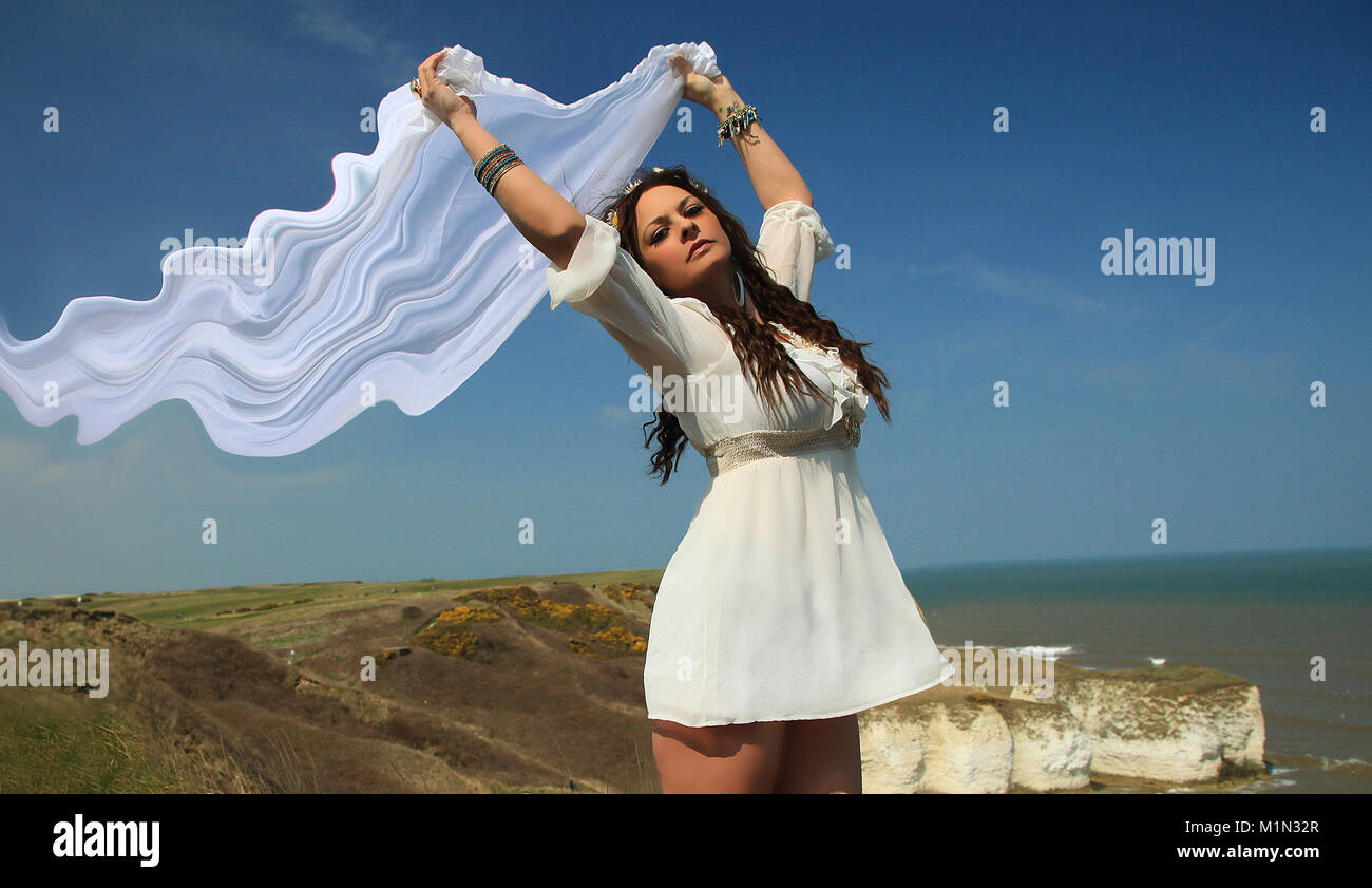 beautiful woman, goddess at the coast, greek goddess,Goddess of love and beauty, Aphrodite - Stock Image