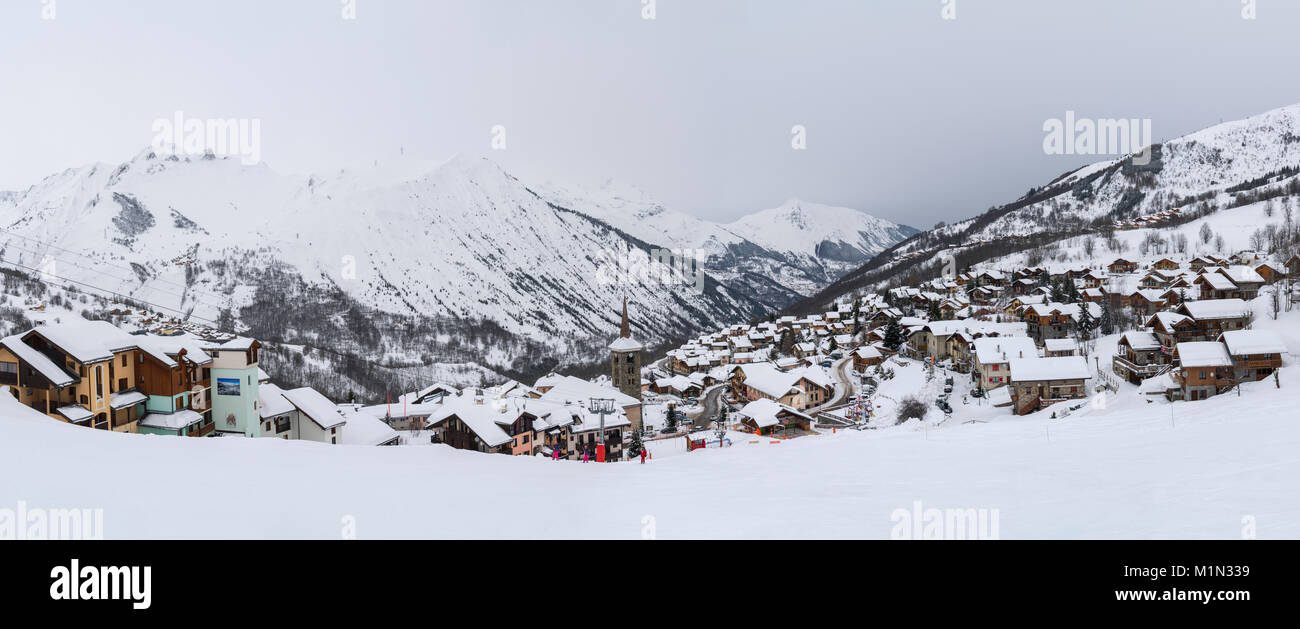 panorama of the french ski resort of st martin de belleville in the