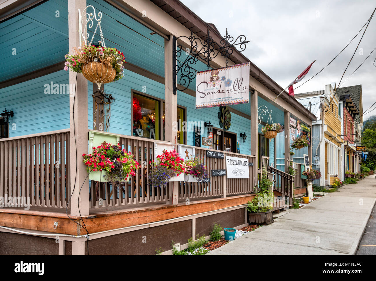 Buildings at Sixth Street in New Denver, Slocan Valley, West Kootenay Region, British Columbia, Canada - Stock Image