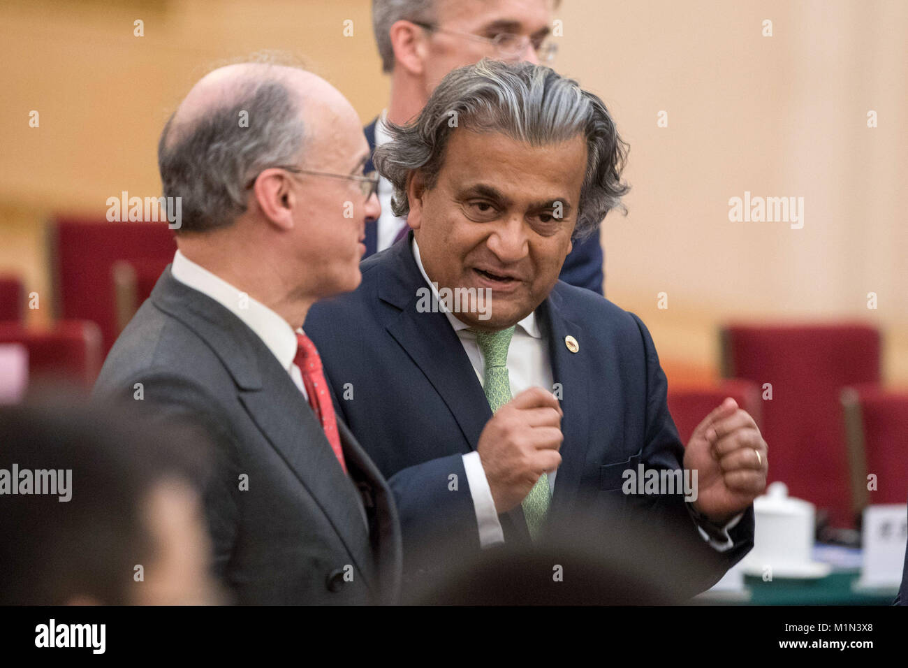 Dev Sanyal, chief executive officer of alternative energy of BP Plc (right) attends the CEO council at the Great - Stock Image