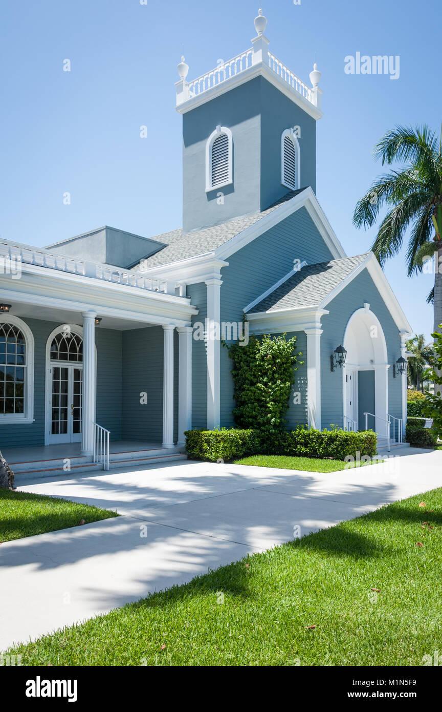 Historic Royal Poinciana Chapel on Coconut Row in Palm Beach, Florida, USA. - Stock Image