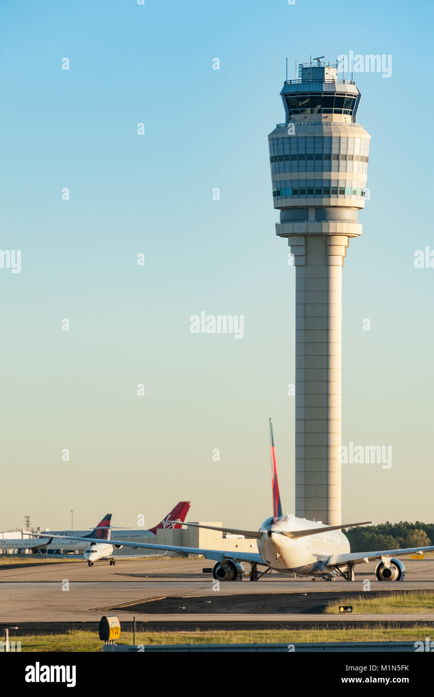 Air traffic control tower at Hartsfield-Jackson Atlanta International Airport, the world's busiest airport. - Stock Image