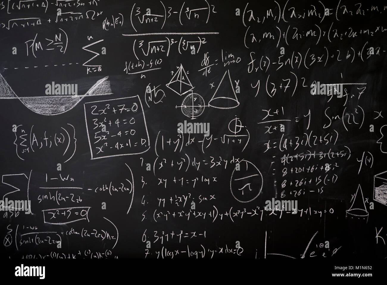Blackboard with maths statistics, equations and ideas - Stock Image