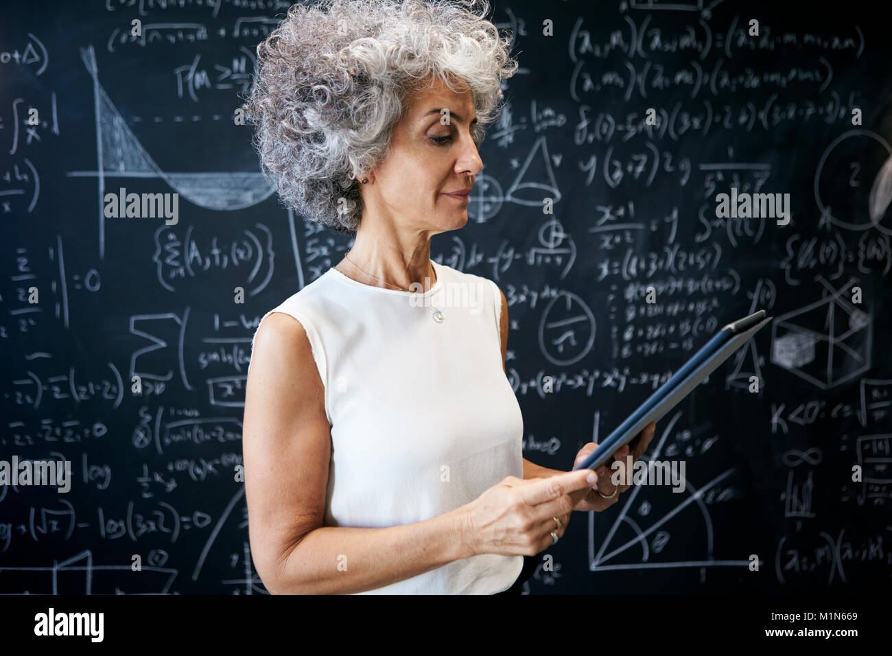 Middle aged academic woman working at blackboard - Stock Image