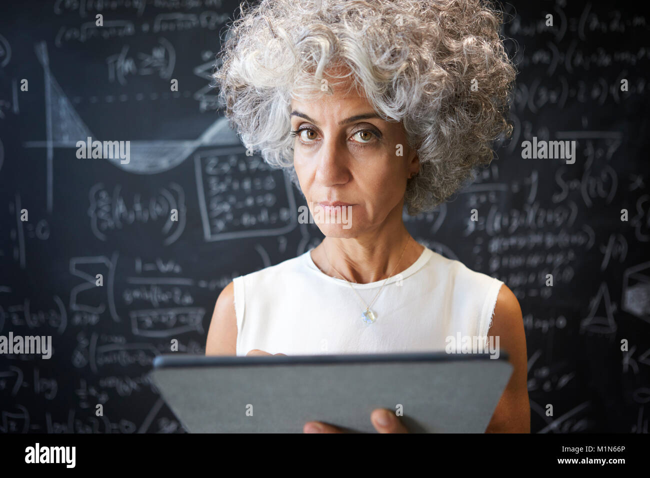 Middle aged academic woman using tablet looking to camera - Stock Image