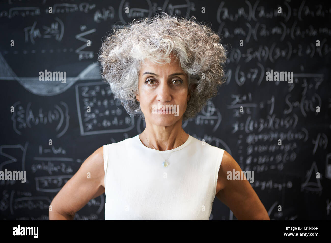 Middle aged academic woman standing in front of blackboard - Stock Image