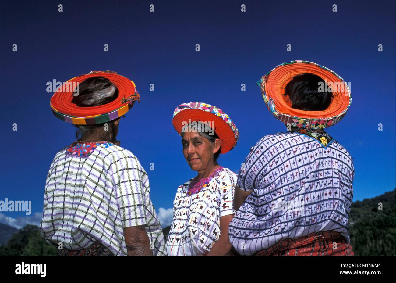 Guatemala. Santiago de Atitlšn. Lago de Atitlan. Maya women with typical hat (Huipiles). Portrait. - Stock Image