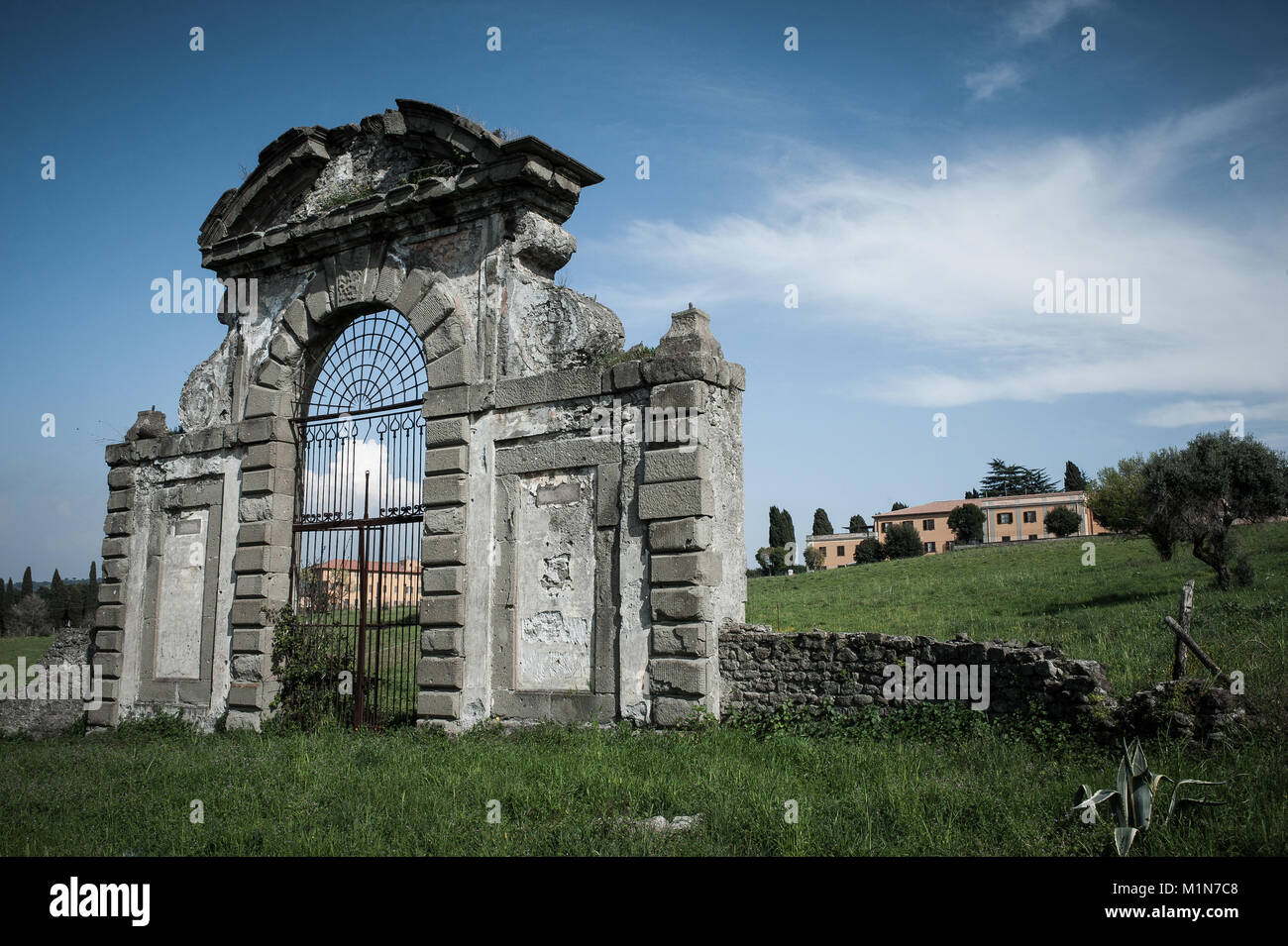 Old portal in the country Roman area Roman Castles - Stock Image