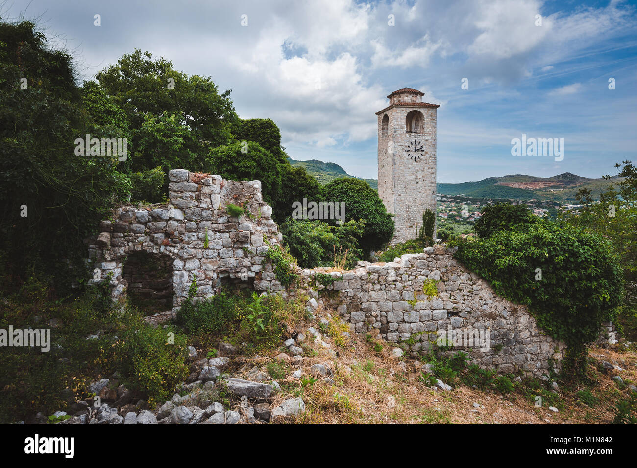 Clock Tower and Ruins of Old Bar, Montenegro - Stock Image