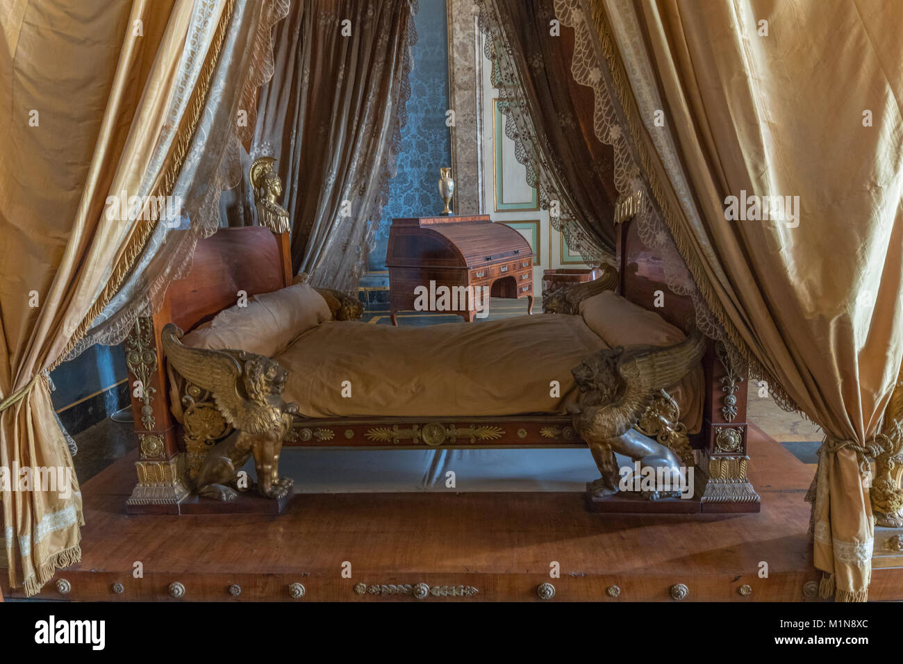 The apartments of the Royal Palace: The king's bedroom (Caserta Royal Palace) Stock Photo