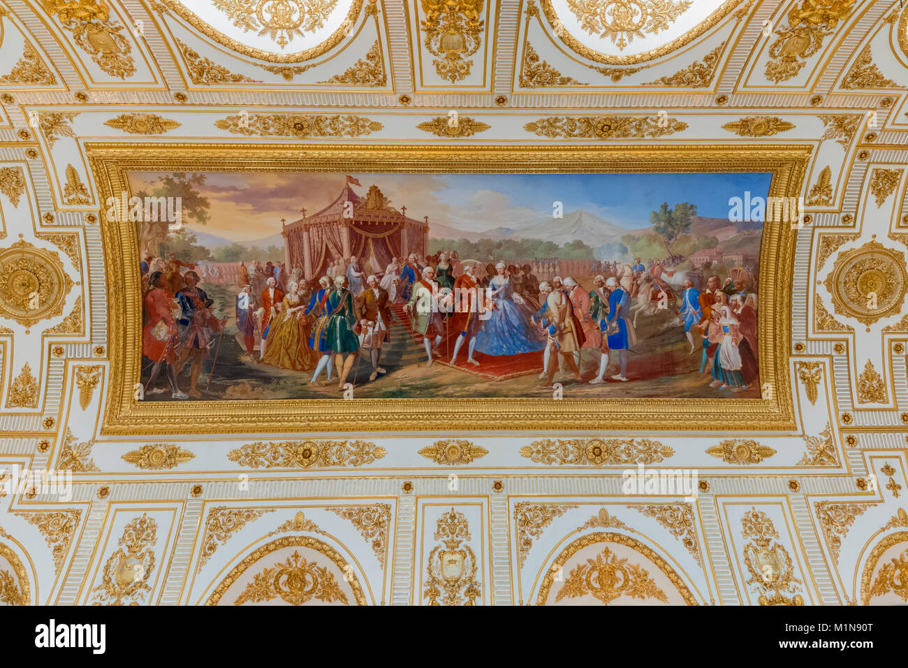 The apartments of the Royal Palace: The throne room (Caserta Royal Palace) Stock Photo