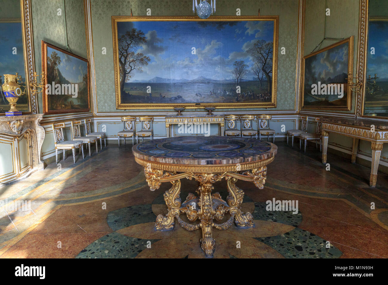 The apartments of the Royal Palace: baroque table (Caserta Royal Palace) Stock Photo