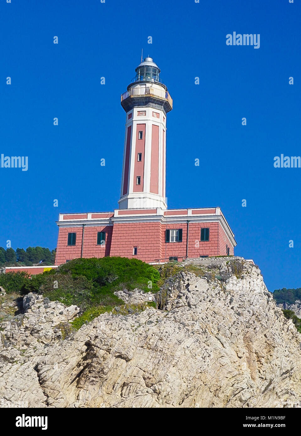 The Lighthouse on the cliff at Punta Carena on the island of Capri, Italy Stock Photo