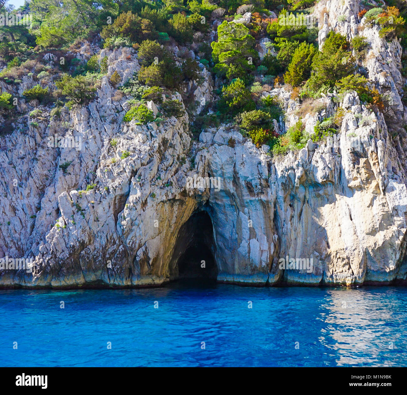 The Entrance to the Coral Grotto on the island of Capri, Italy Stock Photo
