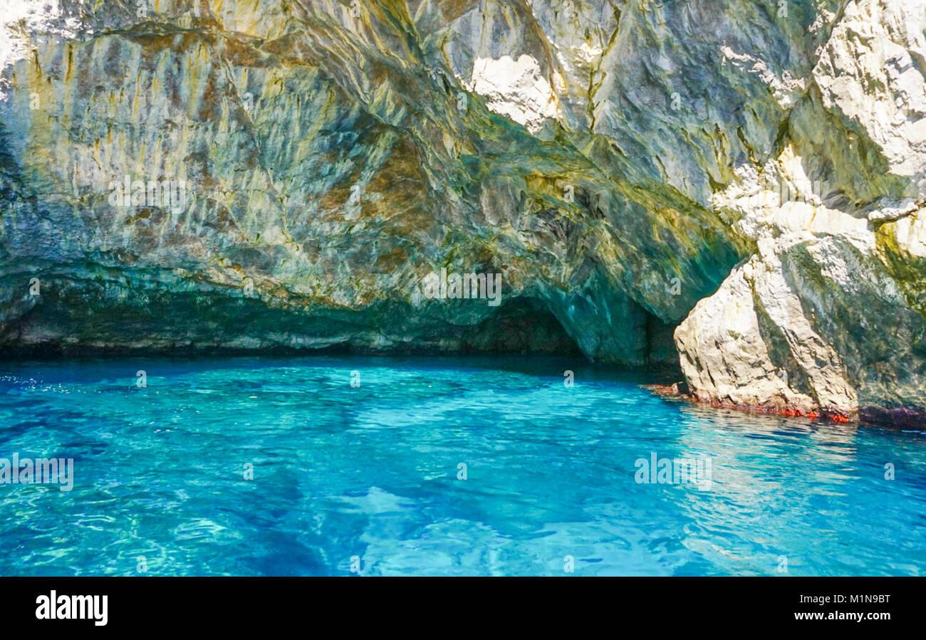 The Grotta Verde (Green Grotto) on the coast on Capri  Italy Stock Photo
