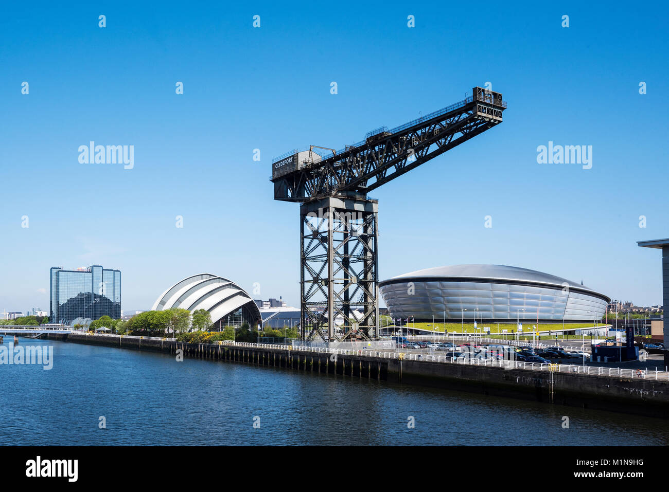 Finnieston Crane and Scottish Event Campus at River Clyde Glasgow. - Stock Image