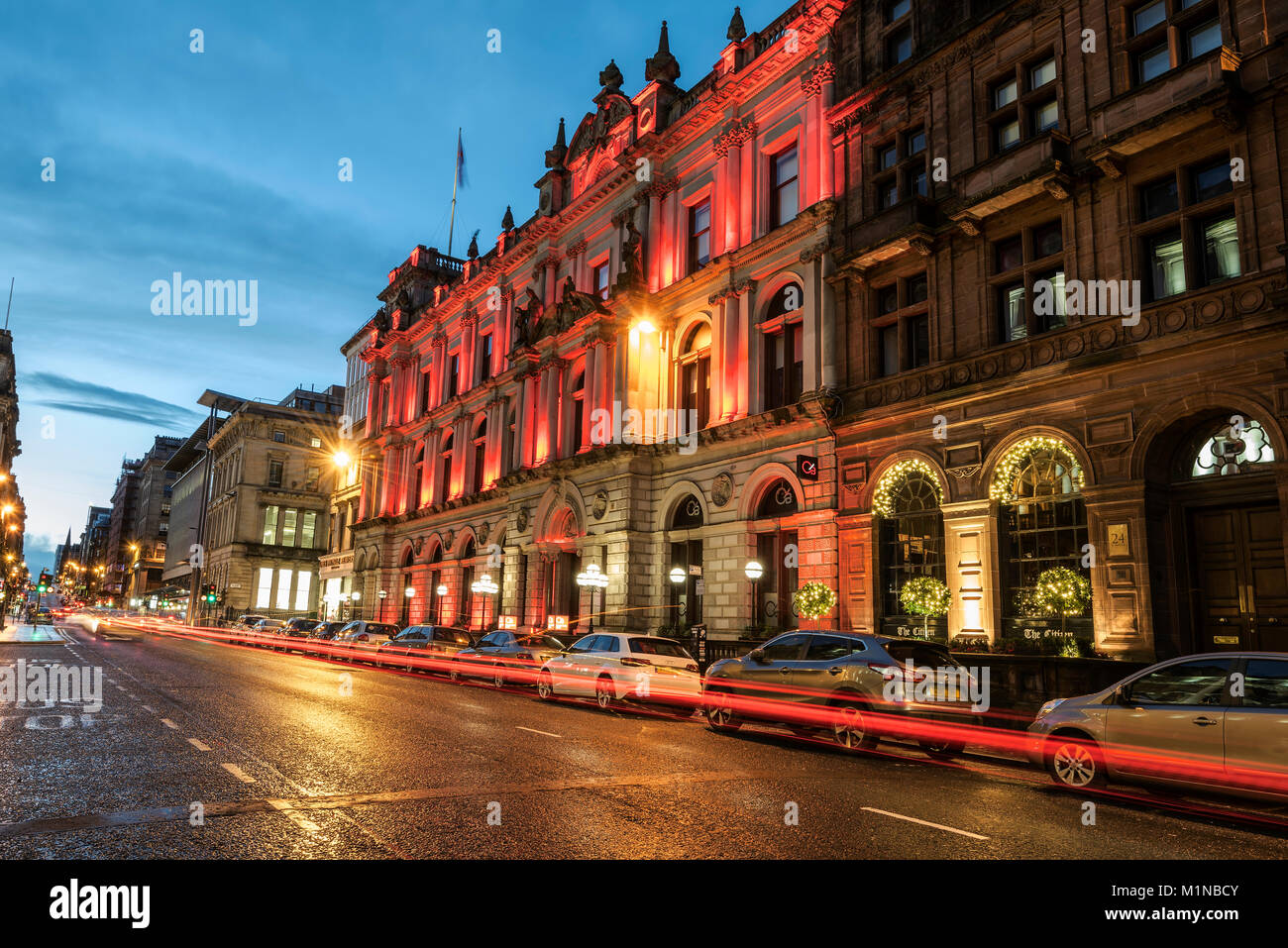 Night piocture of St. Vincent PLace in central Glasgow taken on New Year's Day. - Stock Image